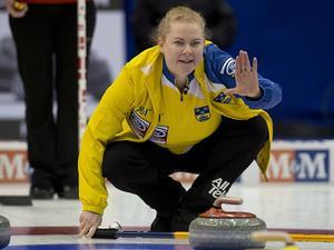 Sverige – med Margaretha Sigfridsson – förlorade matchen mot Sydkorea i VM i curling i Swift Current, Kanada. Arkivbild.