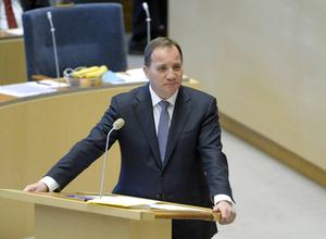 Statsminister Stefan Löfven i riksdagens partiledardebatt.
