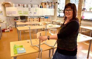 Erika Walker vill testa att förse skolans stolar med ljuddämpare i form av gamla tennisbollar.