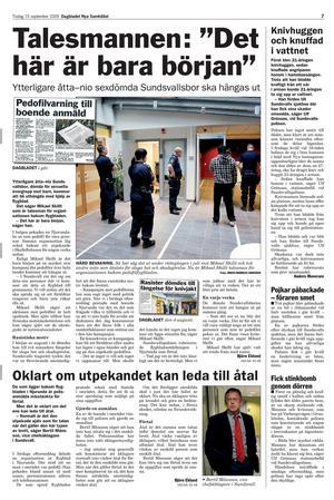 Tidningen Dagbladet 15 september 2009. Mikael Skillt berättade om flygbladet där pedofiler hängdes ut.