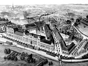 Asea 1908. Lillån med sin allé skär diagonalt genom Mimerkvarteret. Cityringen i bildens nederkant hette Södra Ågatan på den tiden. Teckningen finns i ABB:s centralarkiv.