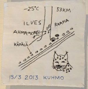 Anna Erlandsson ställer ut en broderad dagbok från en skidresa genom Finland längs ryska gränsen på Jamtli.