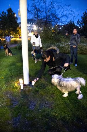 En efter en trädde deltagarna fram och tände sitt ljus. Många med en tår i ögat som vittnade om att alla deltog med sorg i hjärtat.