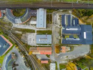 Flygbild över SJ-området. Bild: Mittmedia
