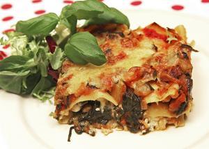 Vegetarisk lasagne med aubergine, färsk spenat och färskost ger en god och mättande smak värd att vänta på.   Foto: Dan Strandqvist
