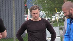 Johan Nilsson under tisdagens träningspass med ÖHF.