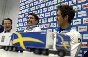Från vänster: Urban Nilsson, vallachef, Johan Sares, längdchef och Marcus Hellner, landslagsåkare.