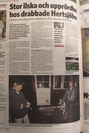 Artikeln i Ljusnan dagen efter inbrotten.