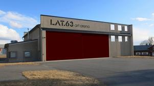 Här är Östersunds nya konsthall - Lat 63 - i en av hangarerna på gamla F4. Dörren och skylten målas nästa vecka.