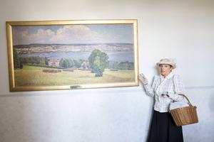 Målning av Anton Genberg över staden Östersund.