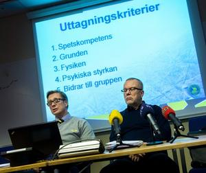 Tommy Boustedt och Leif Boork förklarar varför bland andra Modos Tina Enström inte kom med i OS-truppen.