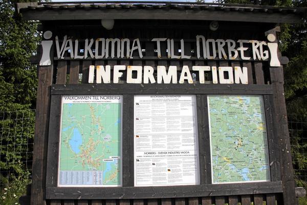 Välkomstskylt. Det finns mycket att göra för att förbättra turistnäringen i Norberg, anser skribenten.Foto: Staffan Bjerstedt