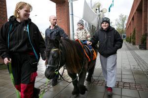 Ettårige Simon Persson Lindberg fick rida på hästen Markus. Pappa Joakim Persson höll ett vakande öga tillsammans med Mirandel Öjerteg och Johnatan Öjerteg.
