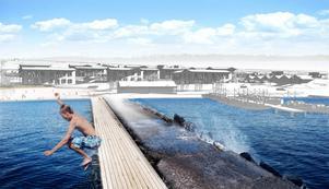 Båtplatsen med vattenlek, bastu och ett aktivt båtliv och bostäder i olika storlekar och priser för att skapa förutsättningar för mångfald i hamnen.
