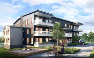 Mellan de två husen skapas en innergård. Nästan alla lägenheter får balkong.