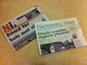 Två olika nummer av Nationell i dag.