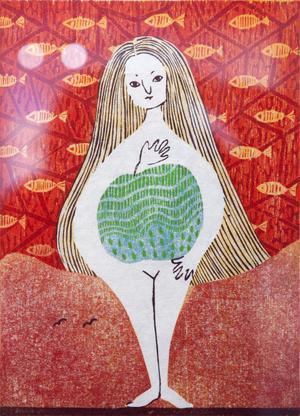 Miho Ikeda, född 1978, deltar med tre träsnitt i utställningen.