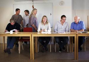 Här förbereder de sig för samedebatt fr v Kia Carlsson (FP), Olof T Johansson (MP), verksamhetschefen Jerker Bexelius, Inga-Lis Bromée Sjöberg (C), Christina Hedin (V), Gunnar Sandberg (S) och Gunnar Hjelm (M).