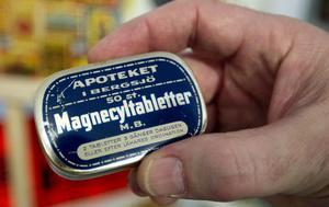 Magnecyltabeller från apoteket i Bergsjö. Om tabletterna tillverkades på plats förtäljer icke historien.
