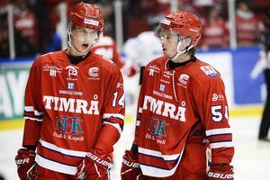 Elias Pettersson och Jonathan Dahlén tillsammans i Timrå IK. Foto: Mats Olsson.