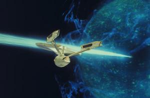 Skeppet USS Enterprise har funnits i flera upplagor. Här syns skeppet i den femte långfilmen - The final frontier.Foto: Paramount/TV 4