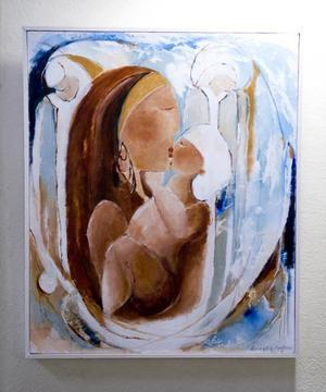 """En undersökare. Annelie Karlsson visar måleri som är kraftfullt men ibland onödigt förutsägbart.""""Älska mig"""" . Av Annelie Karlsson."""