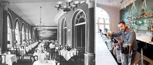 Då och nu. Einar Forseths målning för Grand Hotell, som bevarats och blivit fondvägg, bakom glas, i nya cocktailbaren.