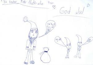 Nathalie 9år från Hofors, har ritat teckning till Tomten med en tomte som säger: