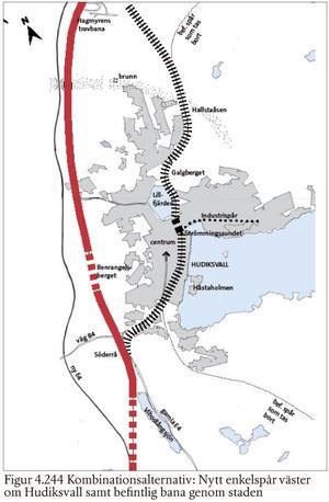 Det andra alternativet är ett kombinationsalternativ med ett enkelspår väster om Hudiksvall och ett enkelspår som följer dagens spår genom Hudiksvall.