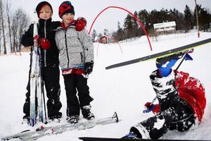Hannes Ringdahl, Jonatan Persson och Isak Persson spenderade första sportlovsdagen på Frösö Skidlek.