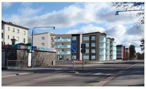 Vy över de planerade bostäderna på Barrsätragatan. Bilden är en illustration från Sandvikenhus AB.