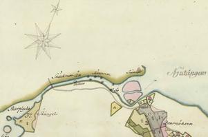 Det finns ovanligt många verksamheter markerade vid utloppet av Nianån.  Detalj ur 1772 års storskifteskarta över Öränge.