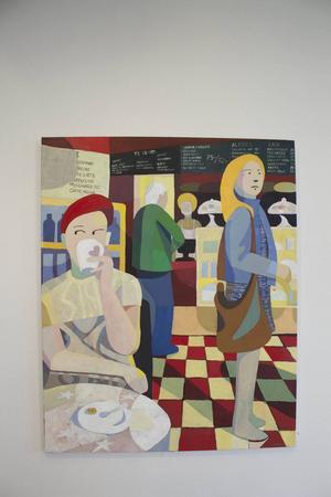 Café, akrylmålning av Lennart Samor.