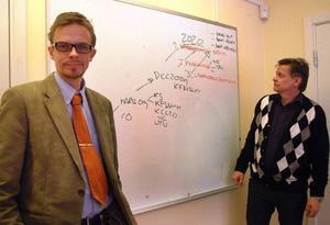 Bräckes kommundirektör Bengt Flykt och kommunalrådet Sven-Åke Draxten (S) presenterade kommunens visioner inför år 2020. Foto: Ingvar Ericsson
