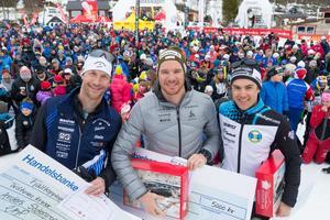 Anders Södergren, Dario Cologna och Petter Engdahl.