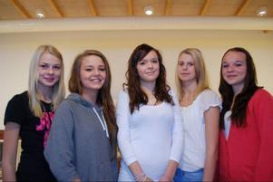 Kandidater från vänster: Lina Adamsson,  Julia Tingsborg, Sofia Nilsson, Jonna Hansson och Sandra Toresson.