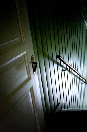 Alla innerdörrar är spegeldörrar från 1923. På väggen i trappen sitter målad träpanel.