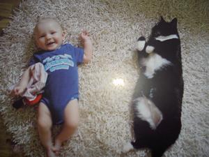 Nu är vi lika långa säger lilla Moa om katten Smilla