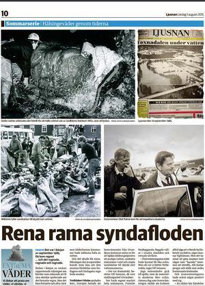En återblick på översvämningarna i Voxnadalen 1985 i tidningens sommarserie om väder 2015.