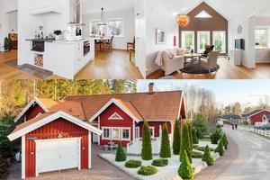 Villan på Hägerstigen 10 har ett påkostat kök med bland annat marmor och  integrerad kaffemaskin och en takhöjd på 5,5 meter i vardagsrummet.