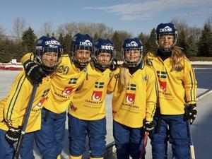 Här är målskyttarna i semifinalen mot Kanada: Malin Andersson, Camilla Johansson, Sara Bergvall, Matilda Svenler och längst ut till höger står Söråkers Malin Persson som gjorde två av målen då.