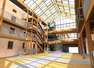 Skissernasom visar hur Grönborgs nya inglasade innergård.