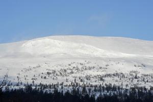 Den stora lavinen som gick på Sjöhöjden var över 300 meter bredd och syns tydligt på avstånd.