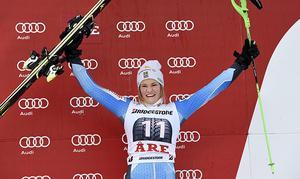 Anna Swenn Larsson, Sverige, trea i damernas slalom i världscupen i Åre.