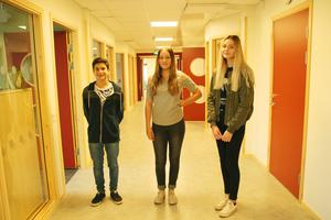 Yaman Khdeir, Emma Jakobsson och Vendela Berggren i klass 8:2.