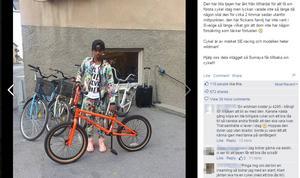 Skärmdump av bilden som ligger ute på Egons cykelaffärs Facebooksida.