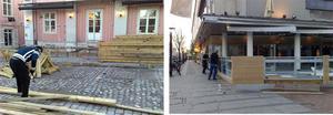 Nu är det byggstart för uteserveringarna i centrala Västerås, bland annat vid Bill och Bob och Varda. FOTO: HANNA OSCARSSON