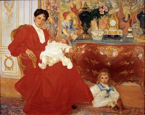 ...den magnifika Dora Lamm och hennes två äldsta söner (1903) som Waldemarsudde lånat in från Länmuseet i Gävle.