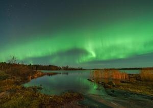 Bilden är tagen av Carina Holmberg i Herräng, Norrtälje, klockan 22.30 på onsdagen. Norrsken kunde dock även ses i södra länsdelarna under natten.