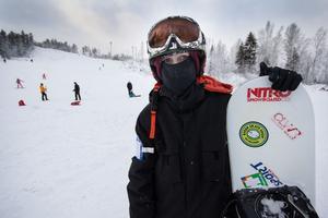 Jakop Anderson Pergenius åkte snowboard på premiärdagen. Han gillar Klackbergsbacken: